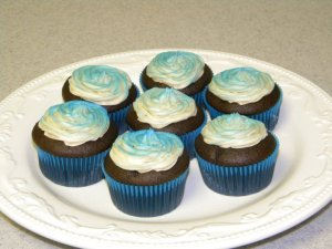 Chocolate Cupcakes colored Blue for Autism Bake Sale